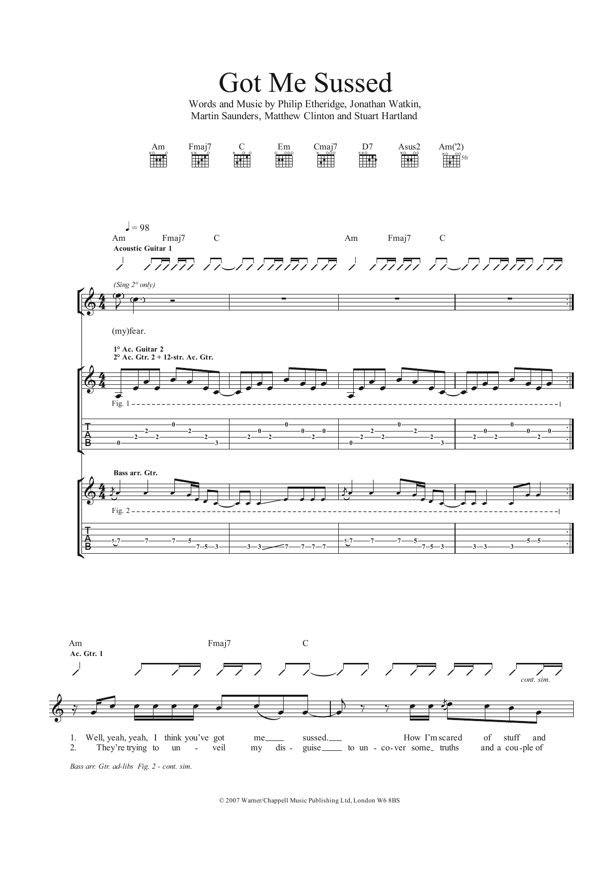 Got Me Sussed Sheet Music
