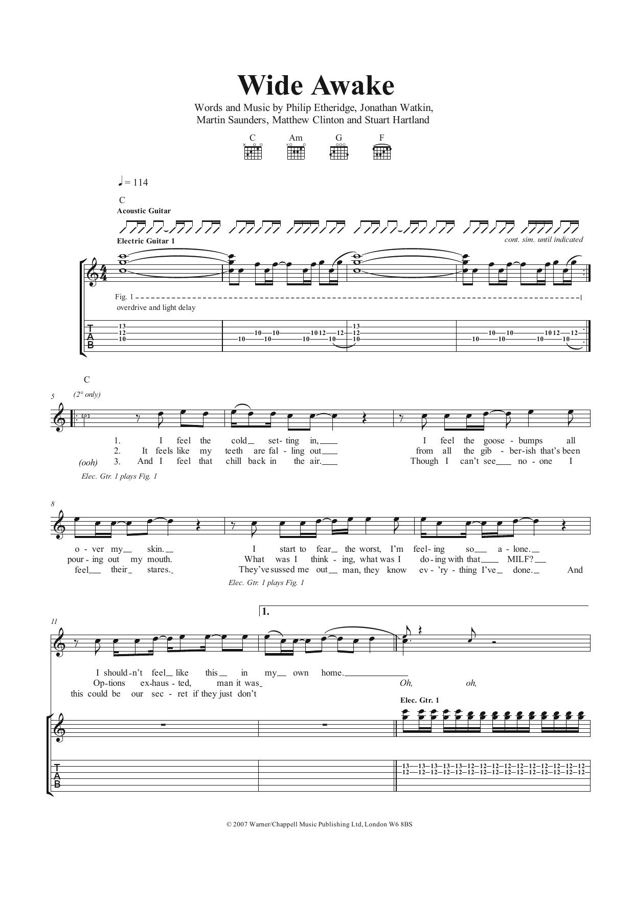 Wide Awake The Twang Guitar Tab