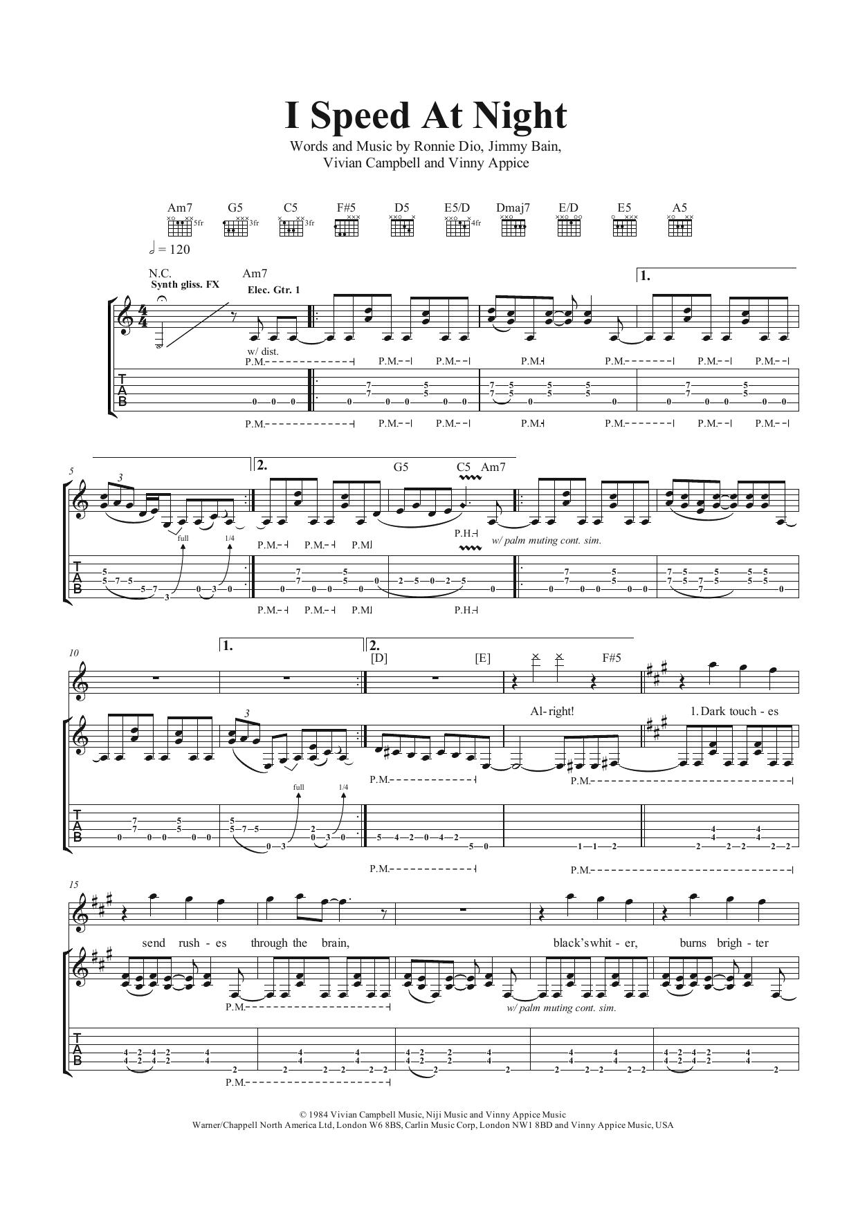 I Speed At Night (Guitar Tab)