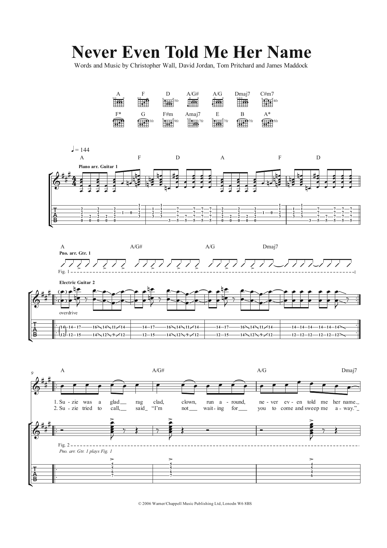 Never Even Told Me Her Name (Guitar Tab)