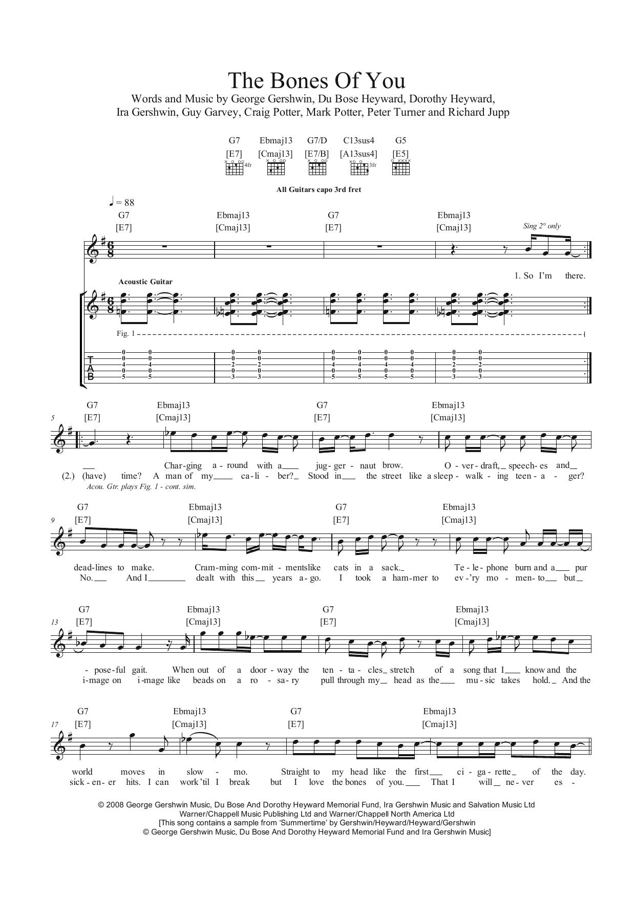The Bones Of You Sheet Music