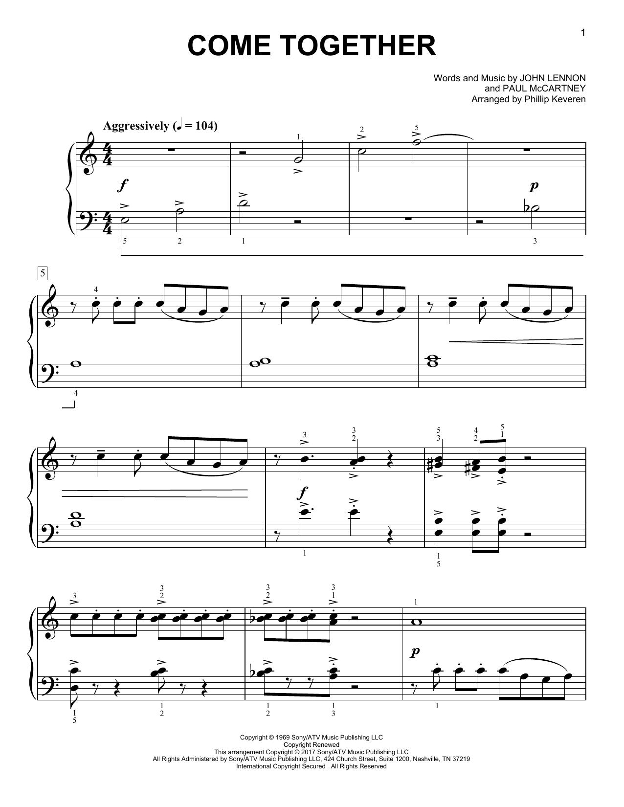 Partition piano Come Together de Phillip Keveren - Piano Facile