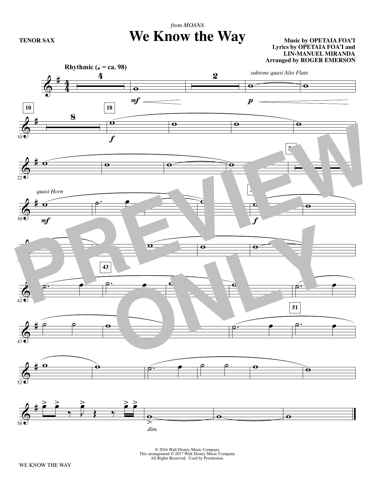 We Know The Way (from Moana) - Bb Tenor Saxophone Sheet Music