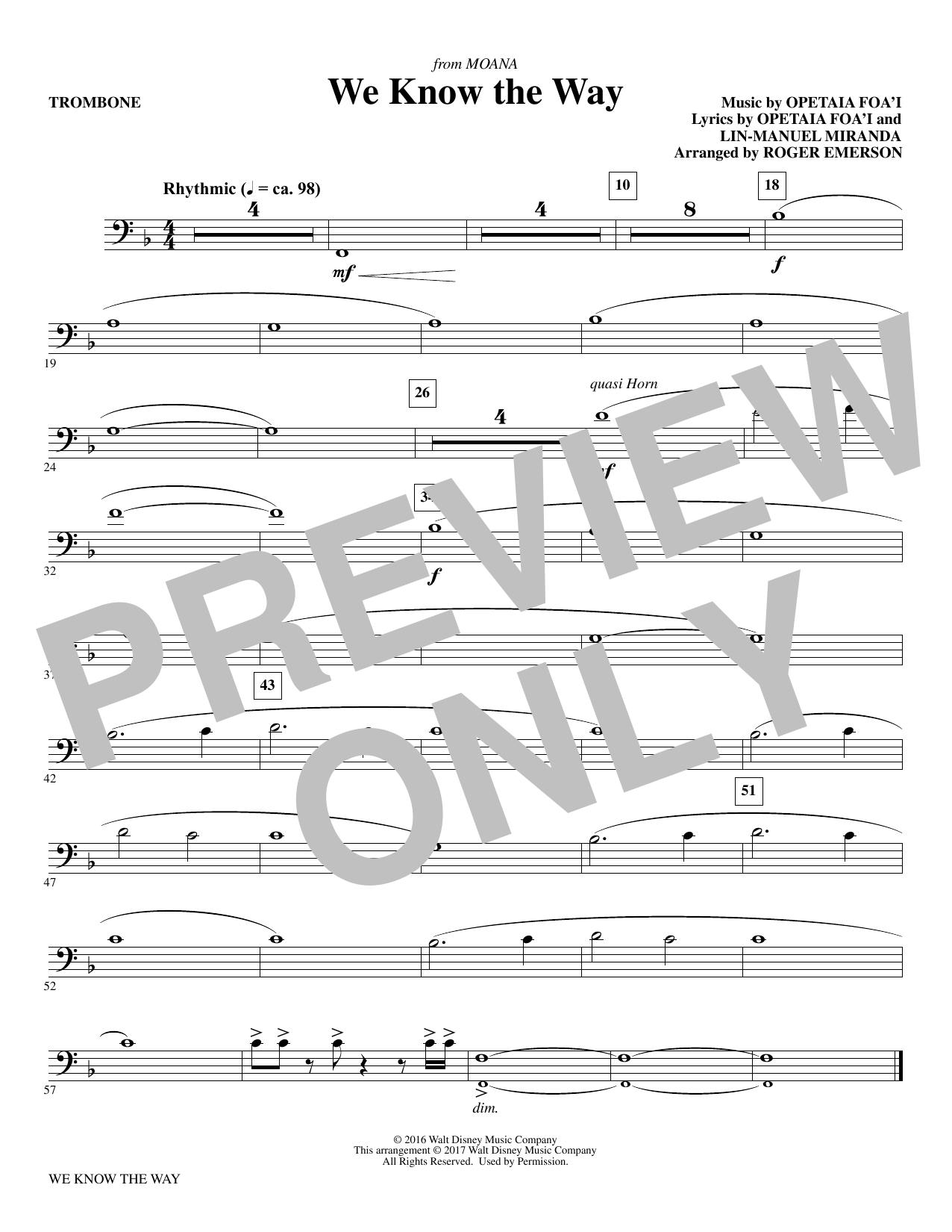 We Know The Way (from Moana) - Trombone Sheet Music