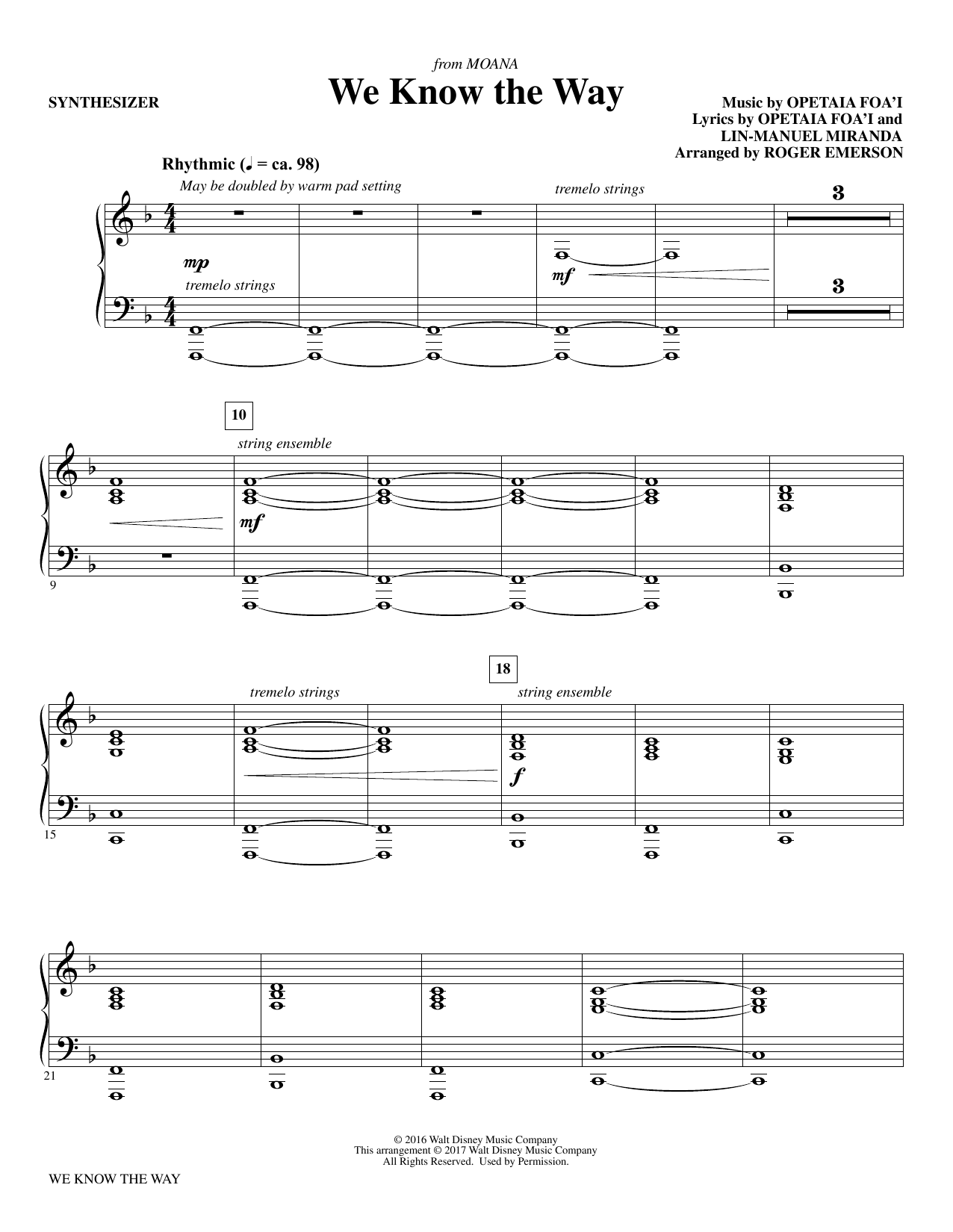 We Know The Way (from Moana) - Synthesizer Sheet Music