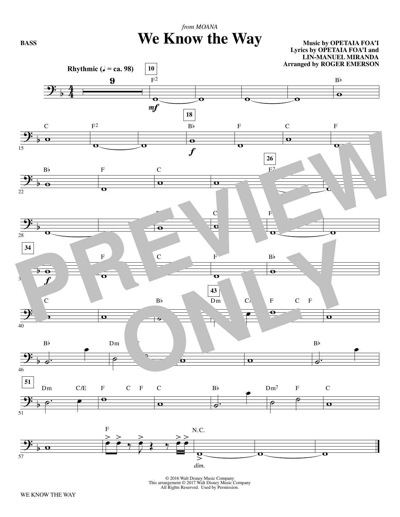 We Know The Way (from Moana) - Bass Sheet Music