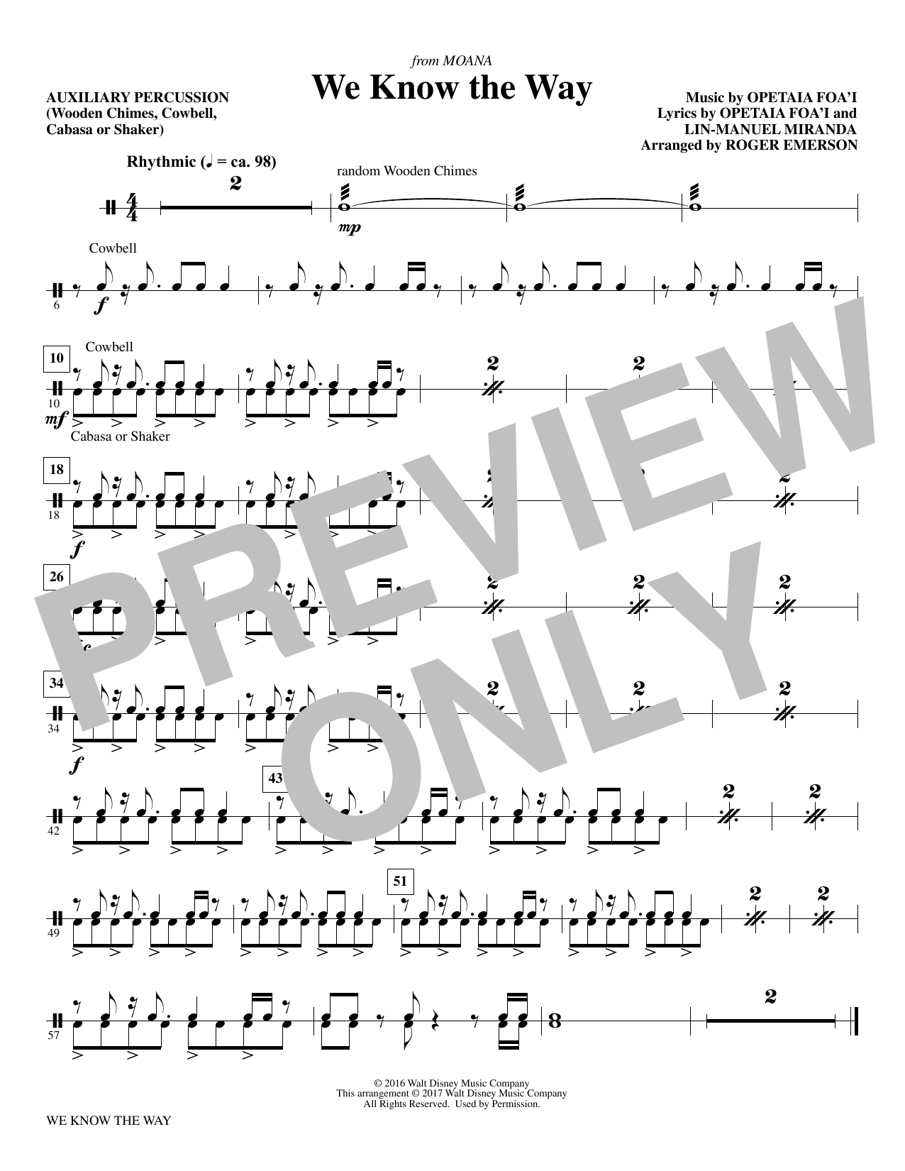 We Know The Way (from Moana) - Aux. Percussion Sheet Music