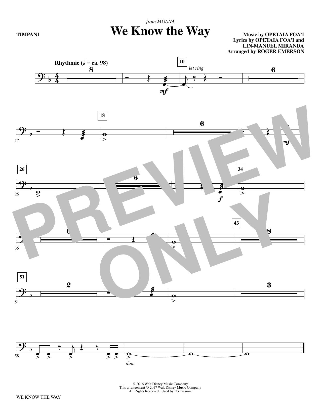 We Know The Way (from Moana) - Timpani Sheet Music
