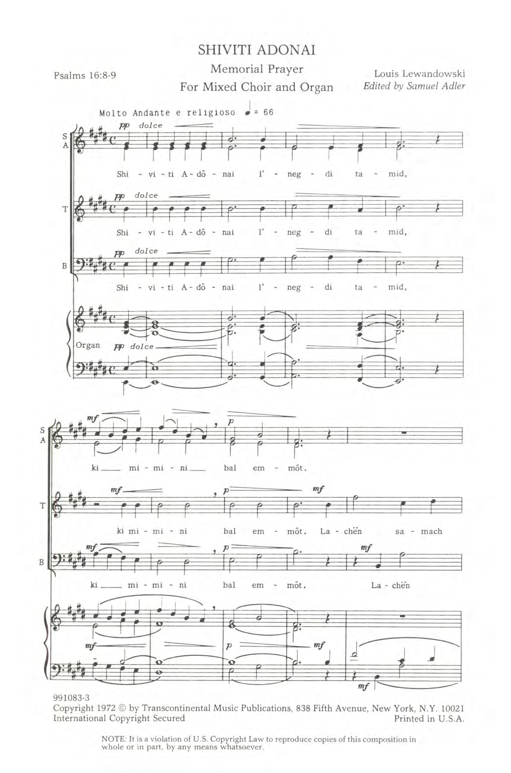 Shiviti Adonai Sheet Music