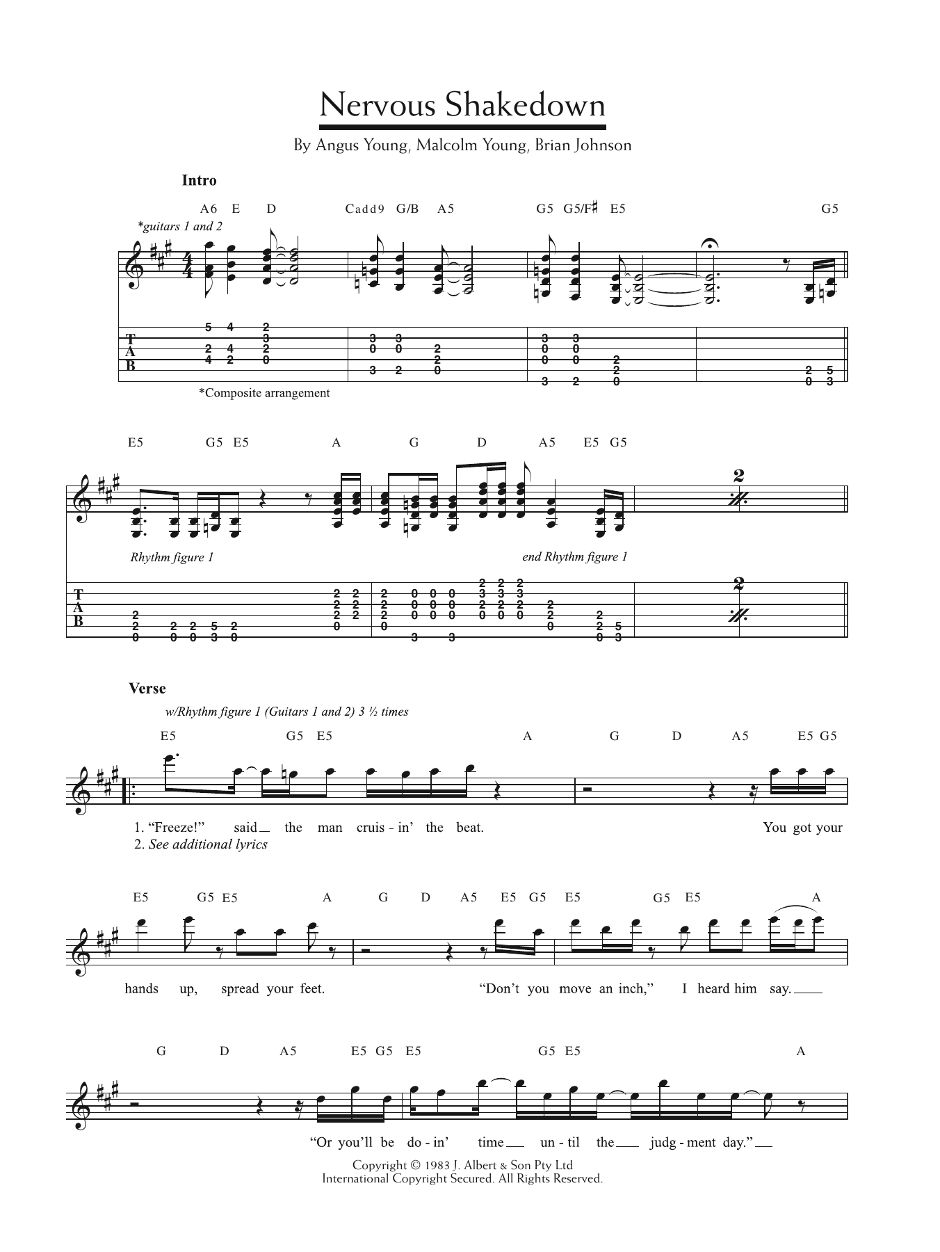 Nervous Shakedown Sheet Music