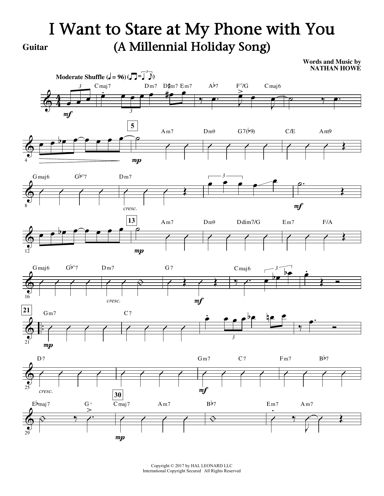 I Want To Stare At My Phone With You (a Touching Holiday Song) (complete set of parts) sheet music for orchestra/band by Nathan Howe. Score Image Preview.