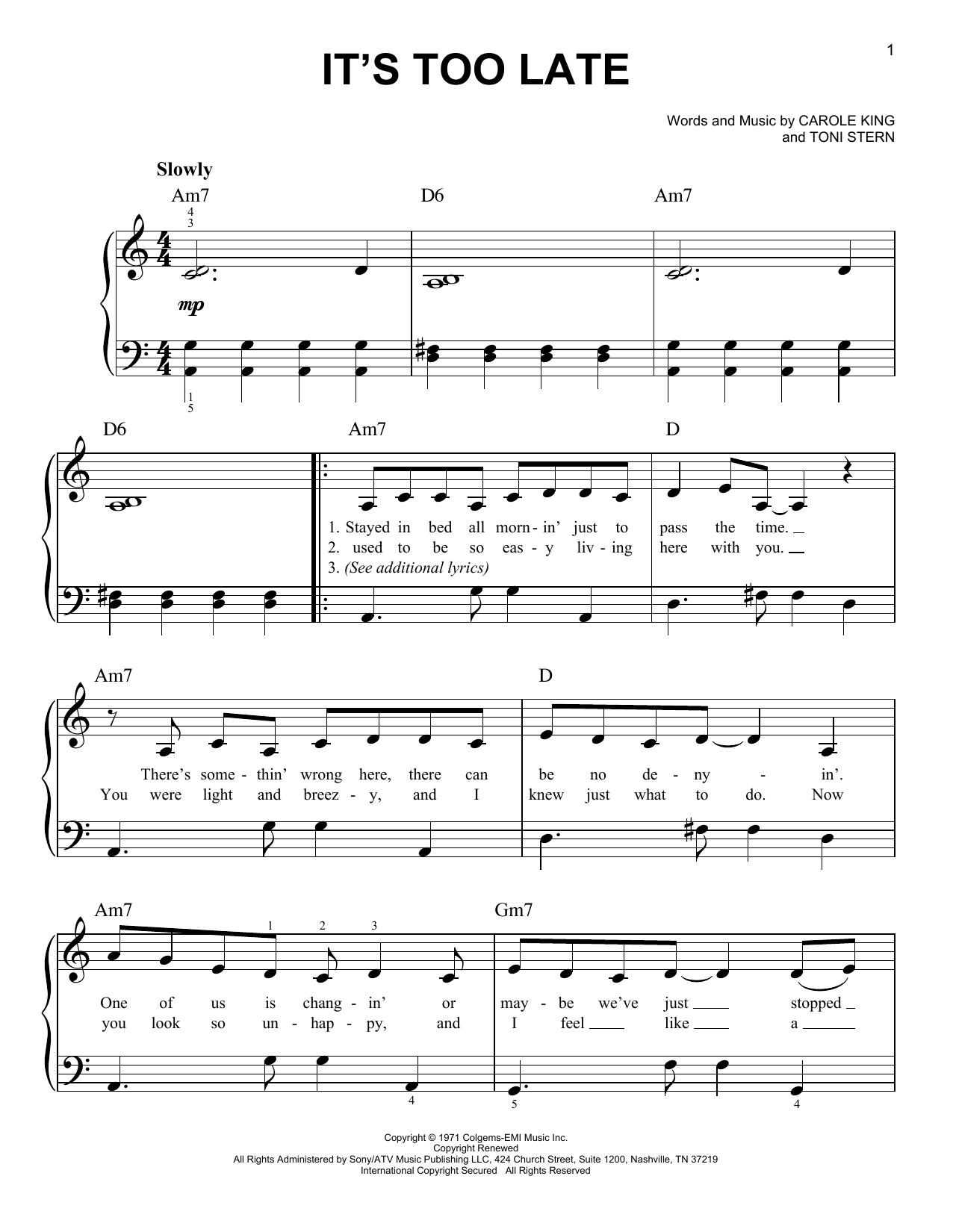 Partition piano It's Too Late de Carole King - Piano Facile