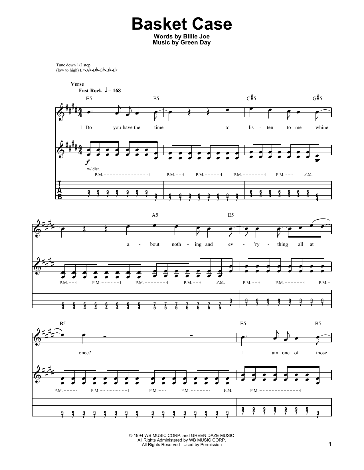 Tablature guitare Basket Case de Green Day - Autre