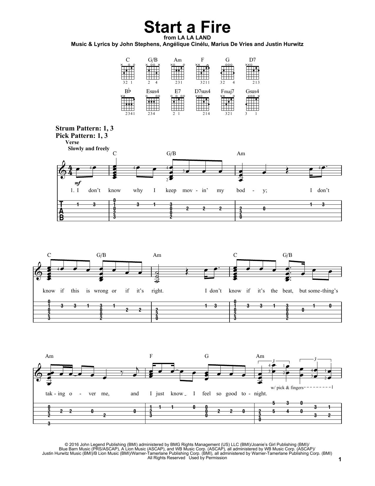 Start A Fire (Easy Guitar Tab)