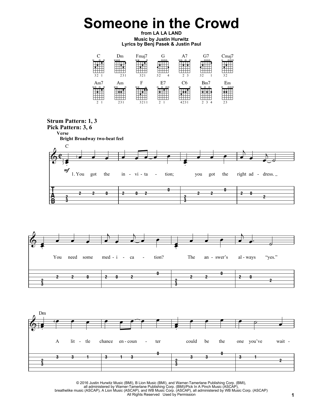 Someone In The Crowd (Easy Guitar Tab)