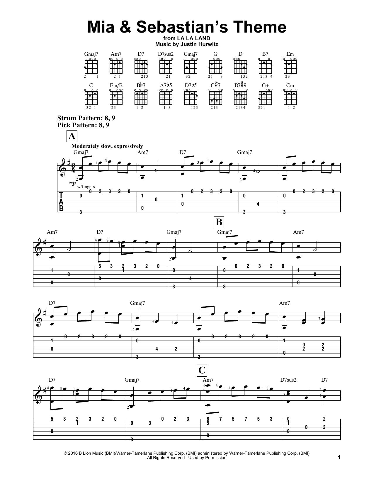 mia sebastian theme sheet music pdf