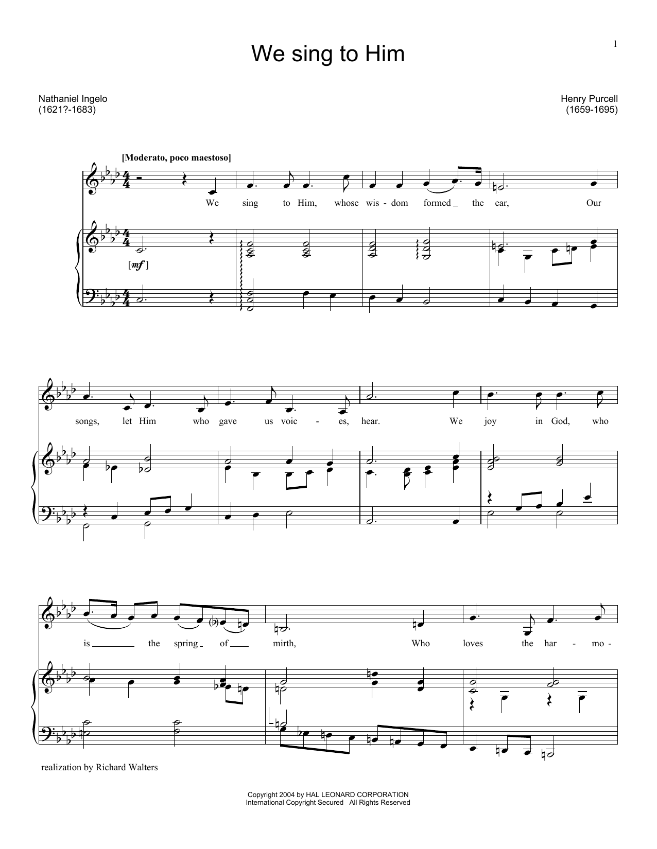We Sing To Him (Piano & Vocal)