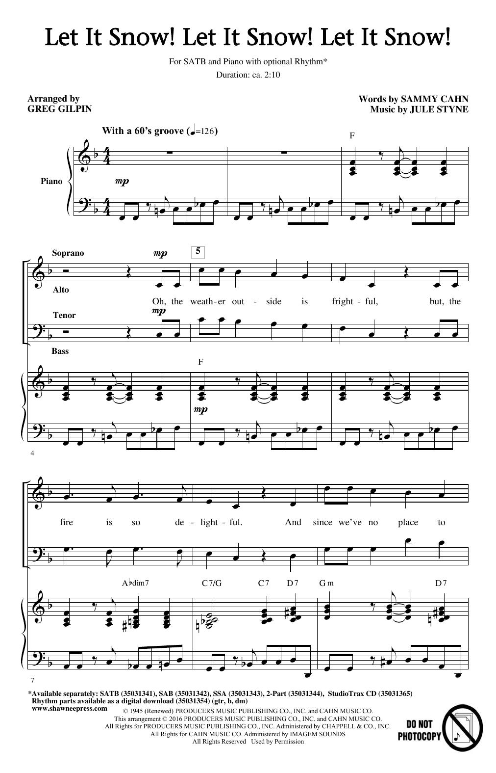 Partition chorale Let It Snow! Let It Snow! Let It Snow! de Greg Gilpin - SATB