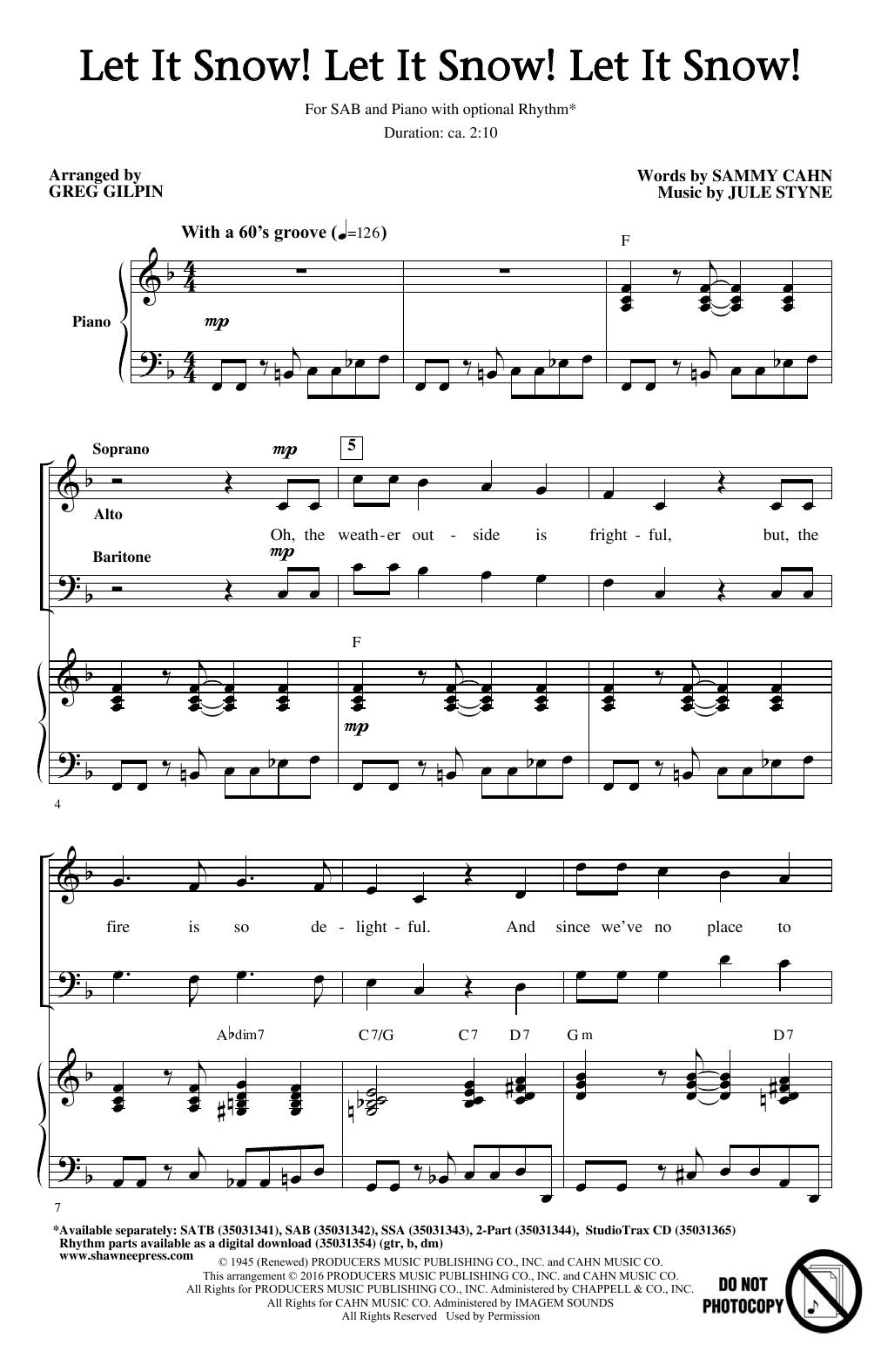 Partition chorale Let It Snow! Let It Snow! Let It Snow! de Greg Gilpin - SAB
