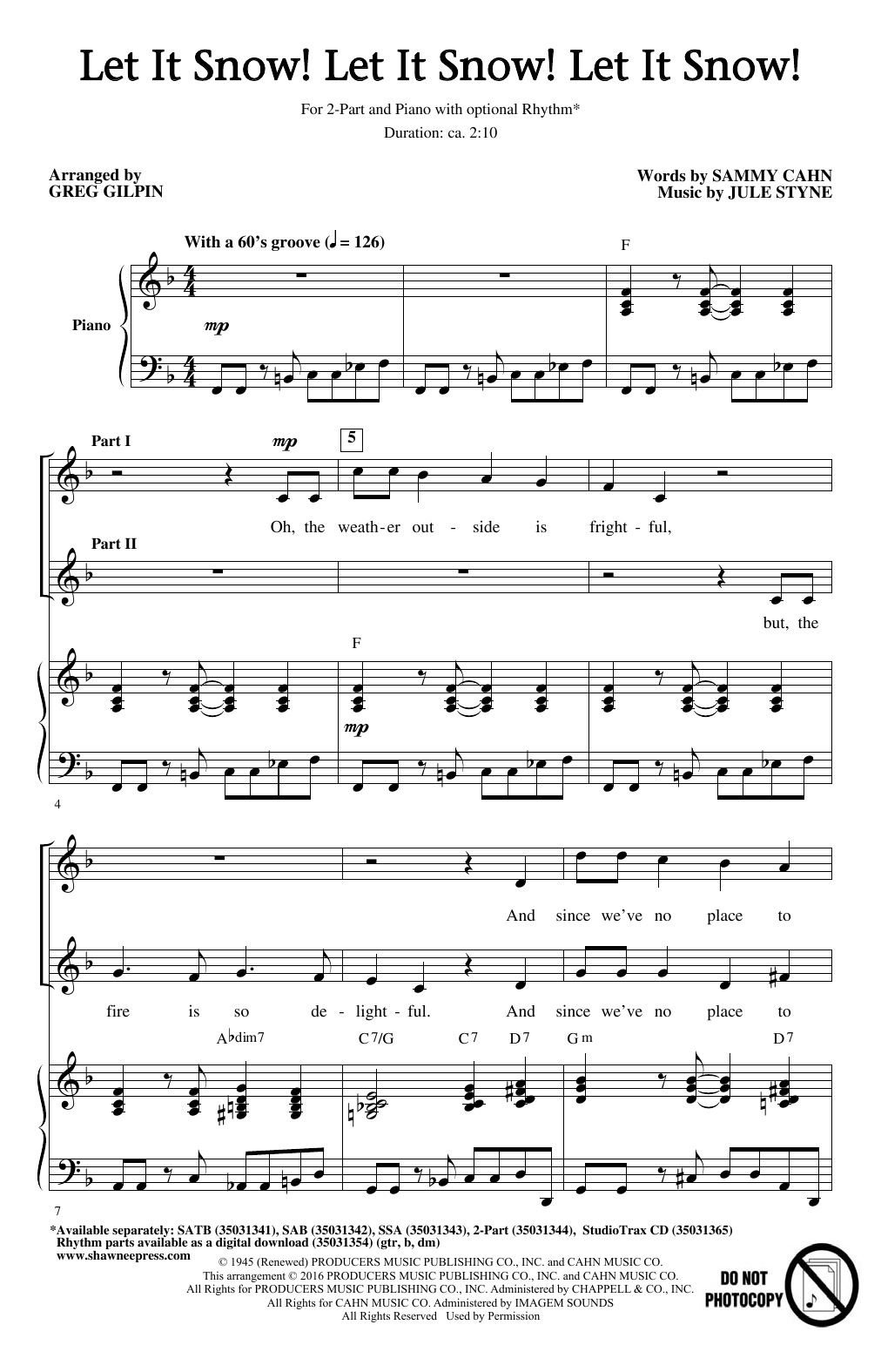 Let It Snow! Let It Snow! Let It Snow! (arr. Greg Gilpin) (2-Part Choir)