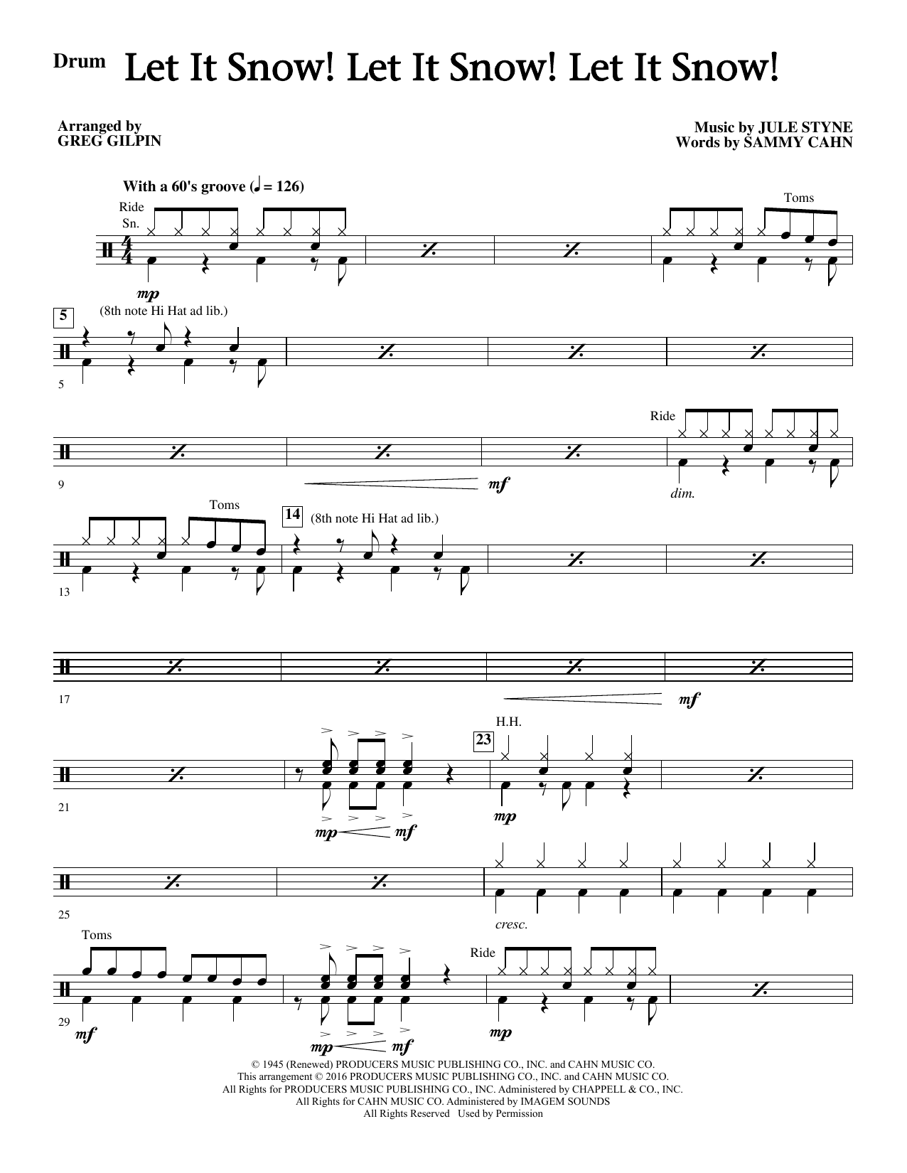 Let It Snow! Let It Snow! Let It Snow! - Drums Sheet Music