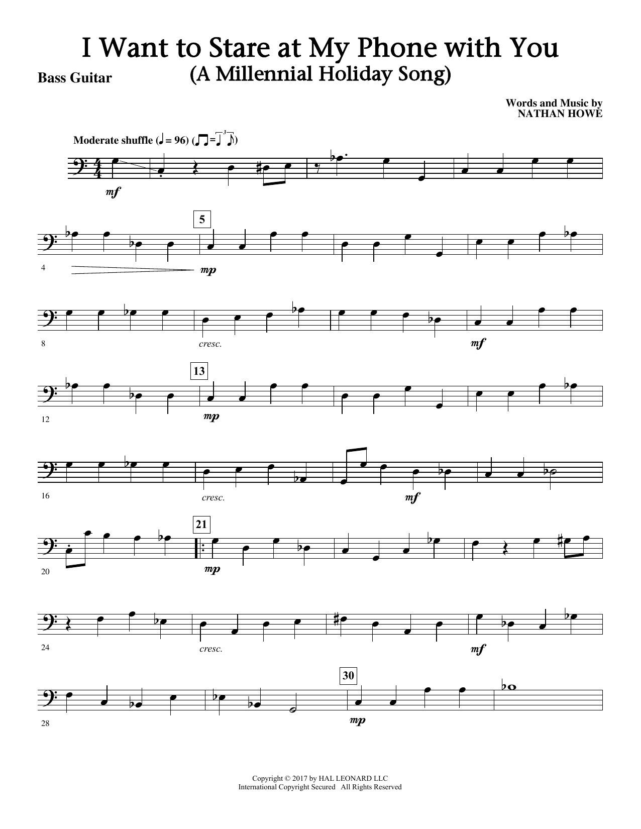 I Want To Stare At My Phone With You (a Touching Holiday Song) - Bass Sheet Music