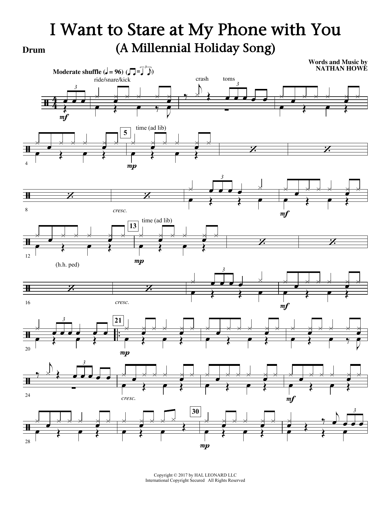 I Want To Stare At My Phone With You (a Touching Holiday Song) - Drums Sheet Music