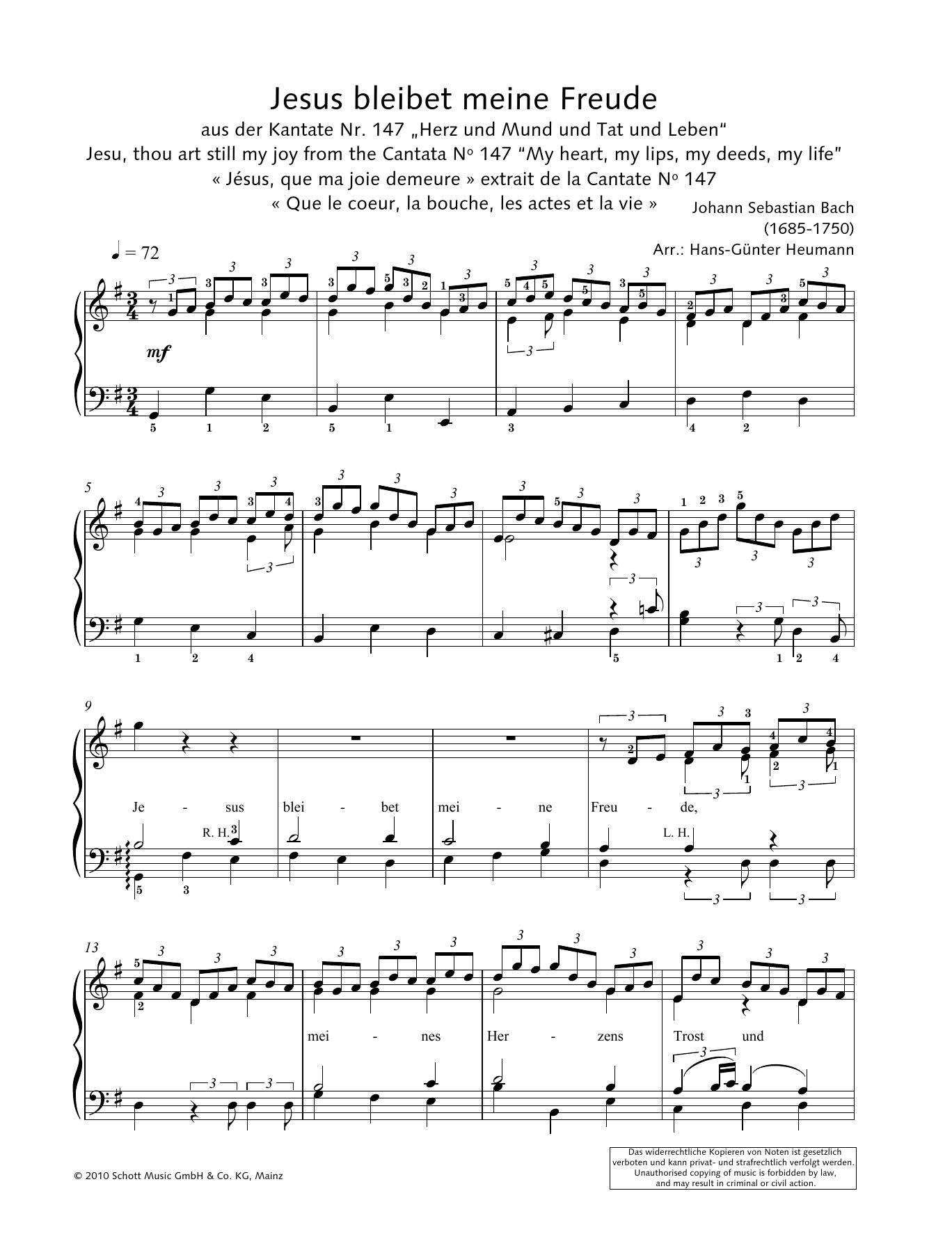 Jesus Bleibet Meine Freude Sheet Music