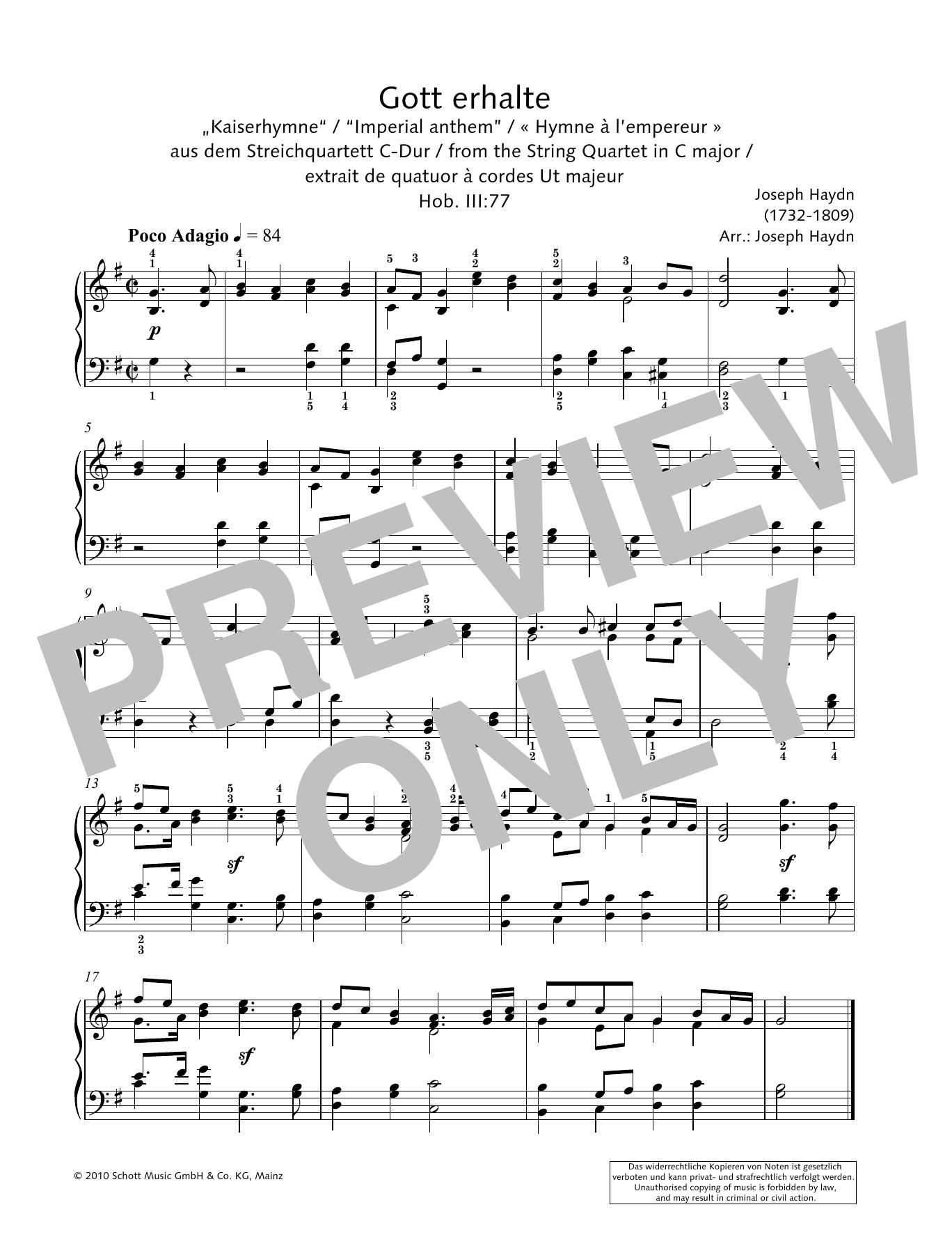 """Gott erhalte """"Imperial anthem"""" Sheet Music"""