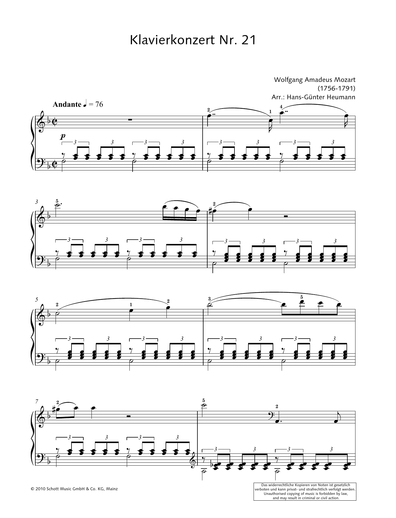 Concerto for Piano and Orchestra No. 21 in C major Sheet Music