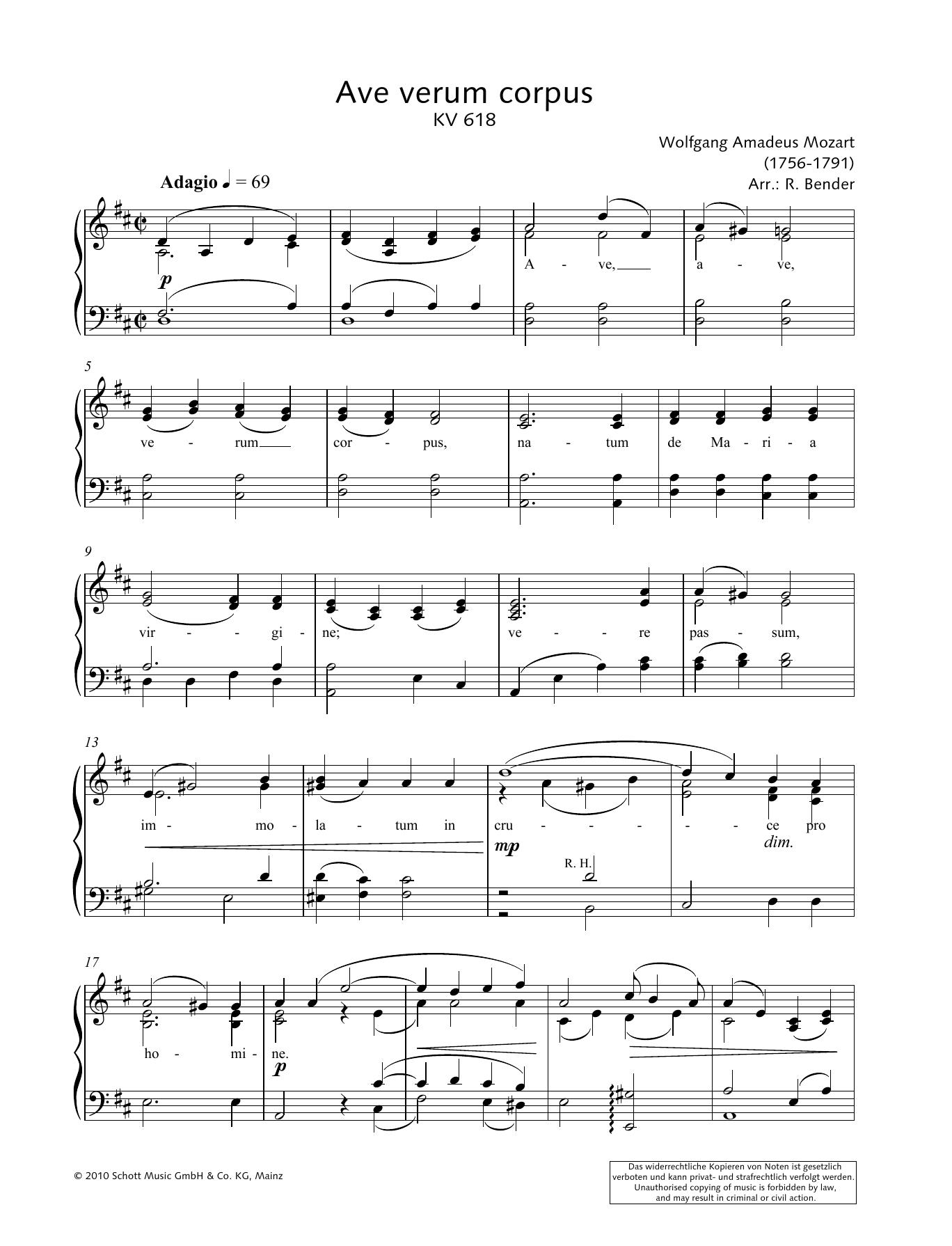Ave Verum Corpus Sheet Music Wolfgang Amadeus Mozart Piano Solo