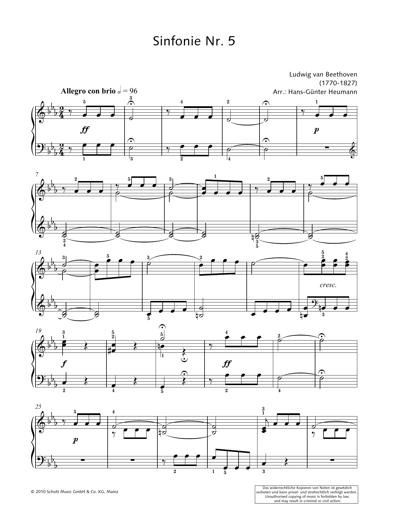 Symphony No. 5 in C Minor Sheet Music