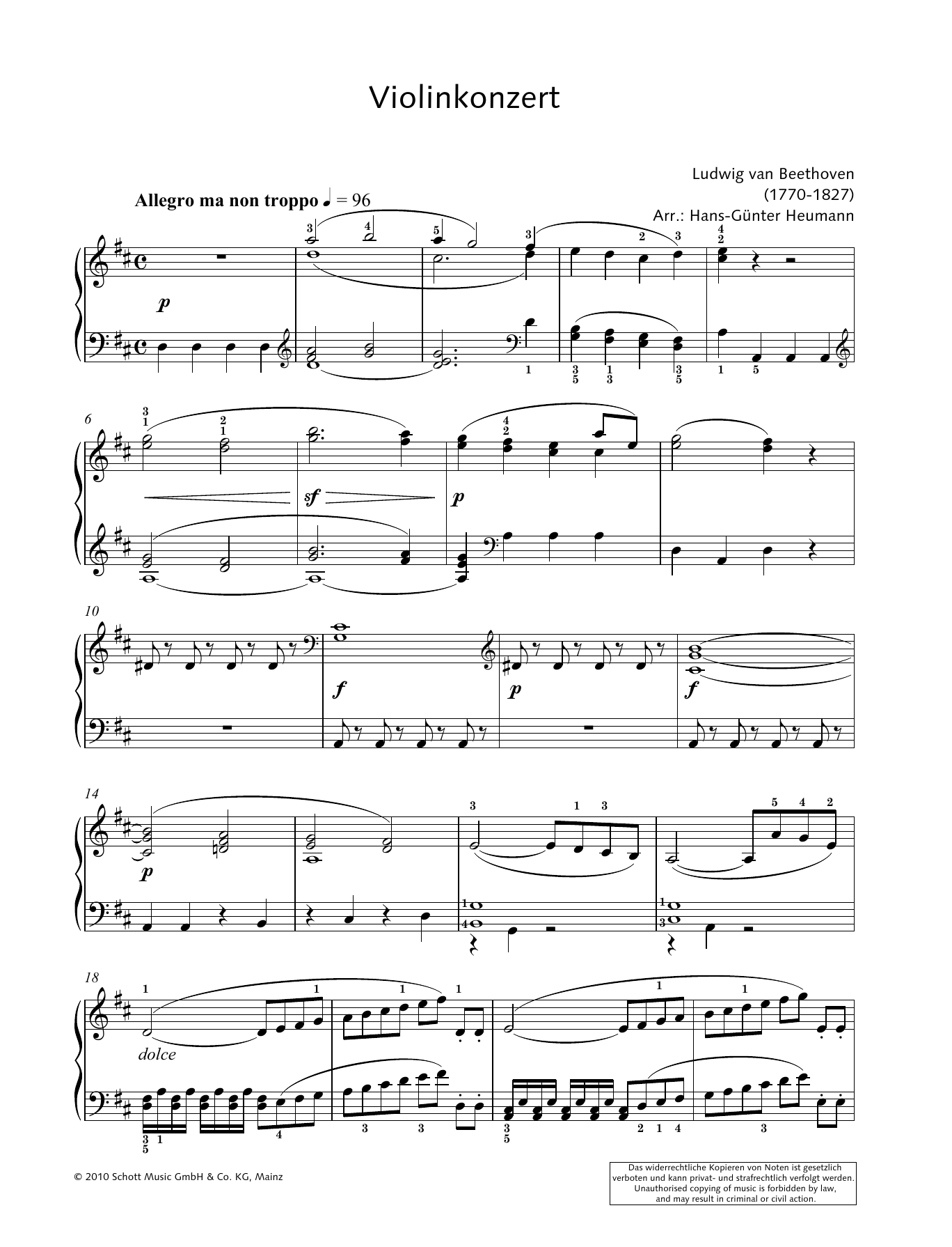 Concerto for Violin and Orchestra in D major Sheet Music