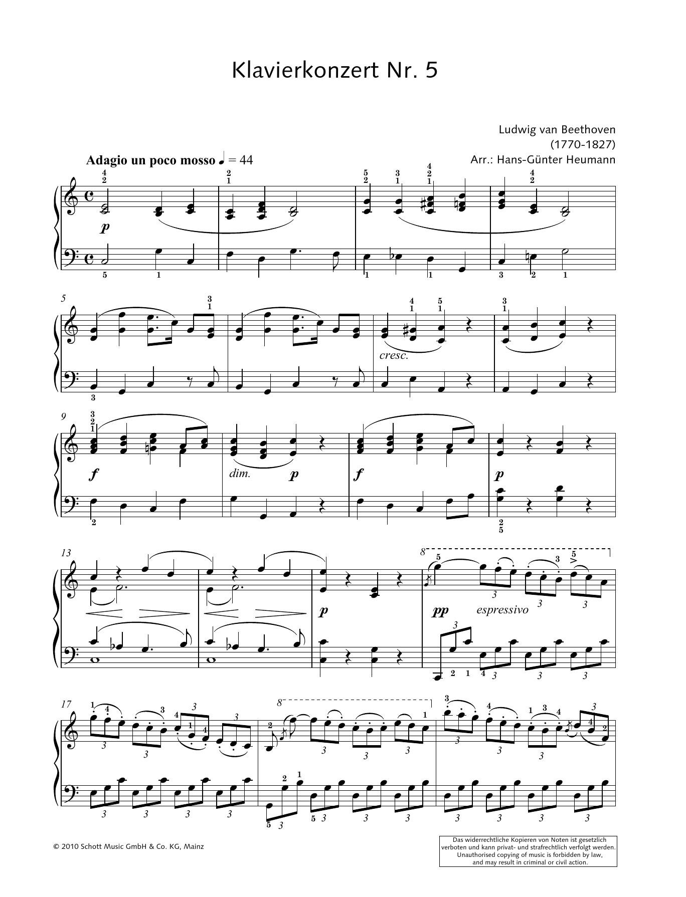 Concerto for Piano and Orchestra No. 5 in E-flat major Sheet Music