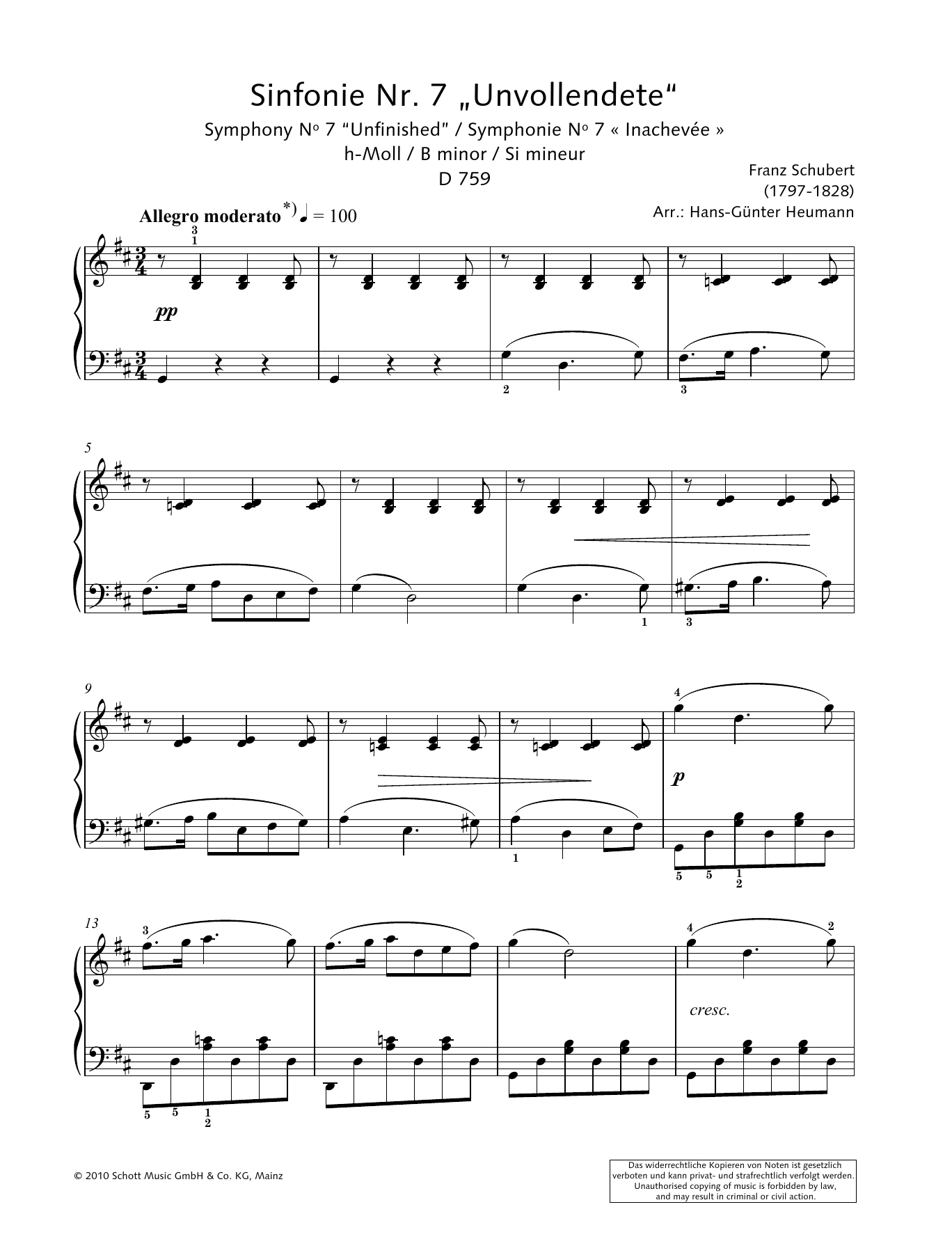 "Symphony No. 7 ""Unfinished"" in B minor Sheet Music"