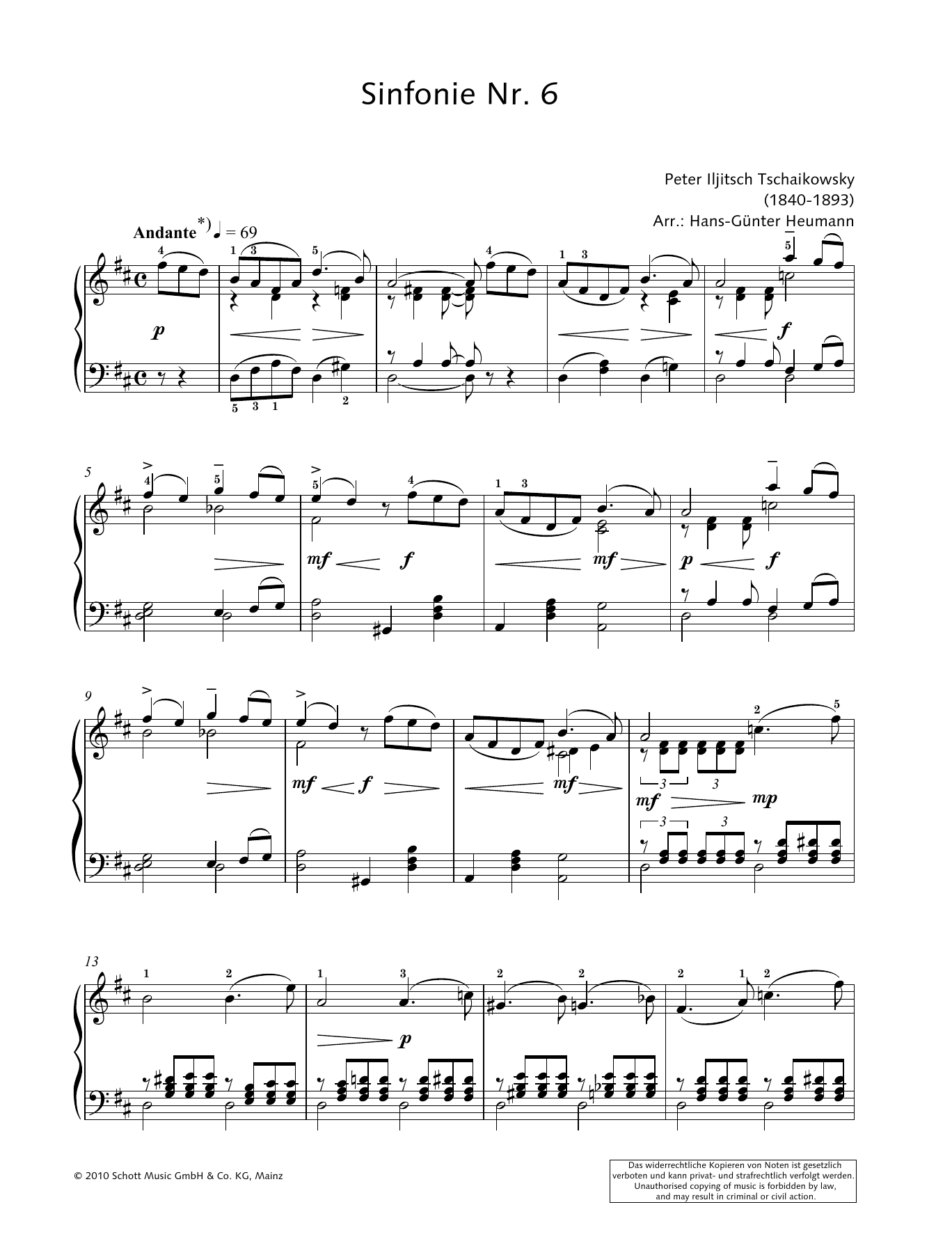 Symphony No. 6 in B minor Sheet Music
