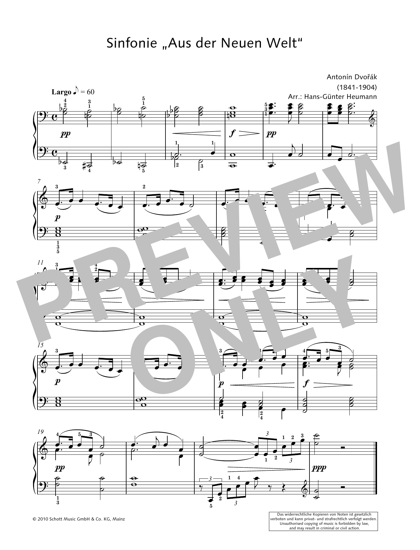 Symphony from the New World in E minor Sheet Music