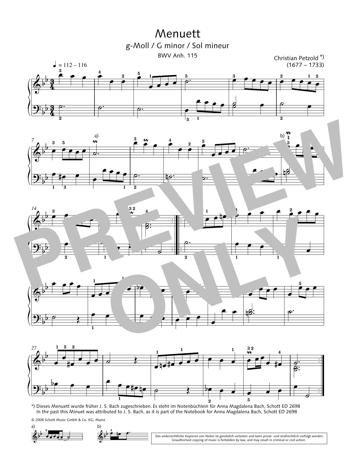 Minuet in G minor Sheet Music