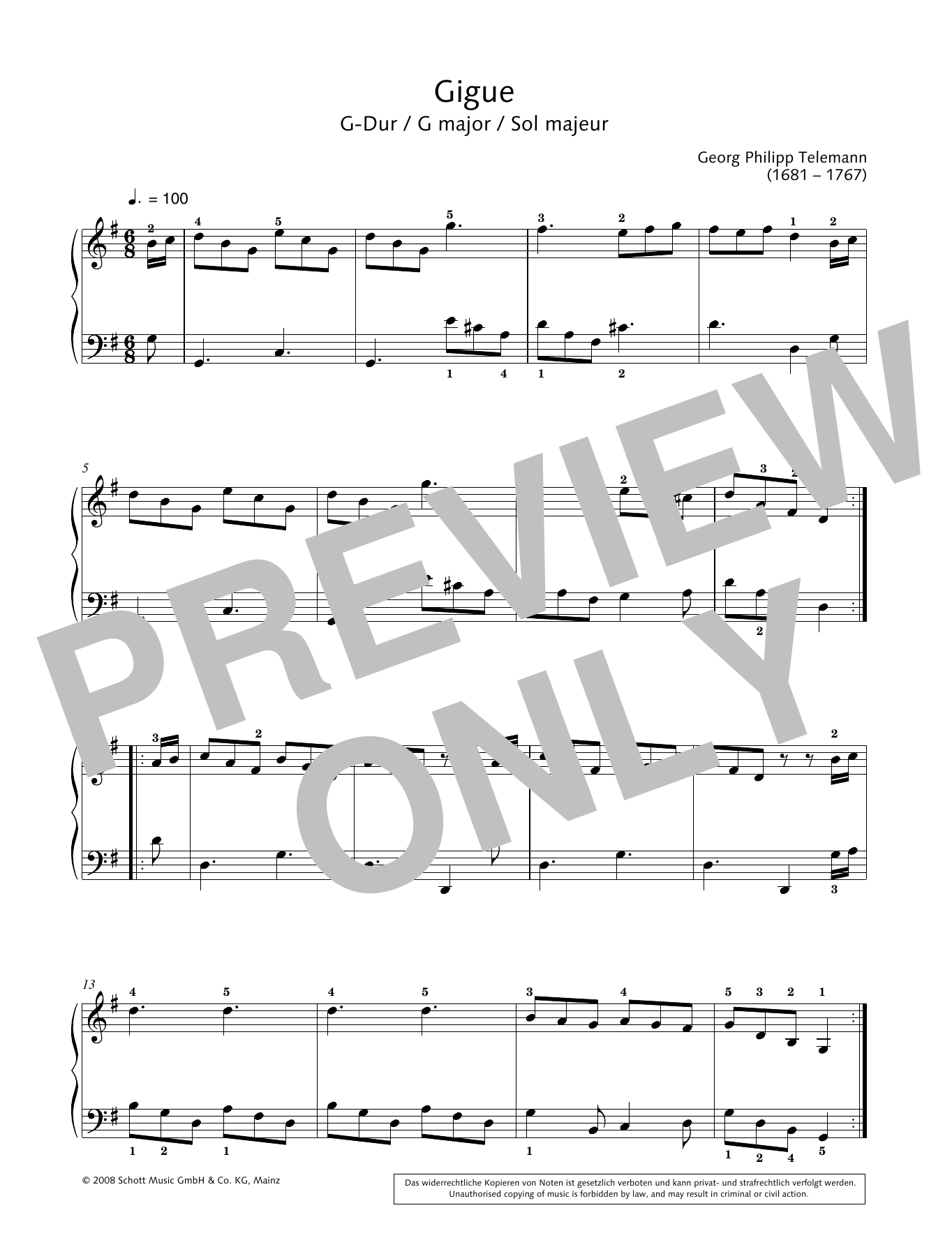 Gigue in G major Sheet Music