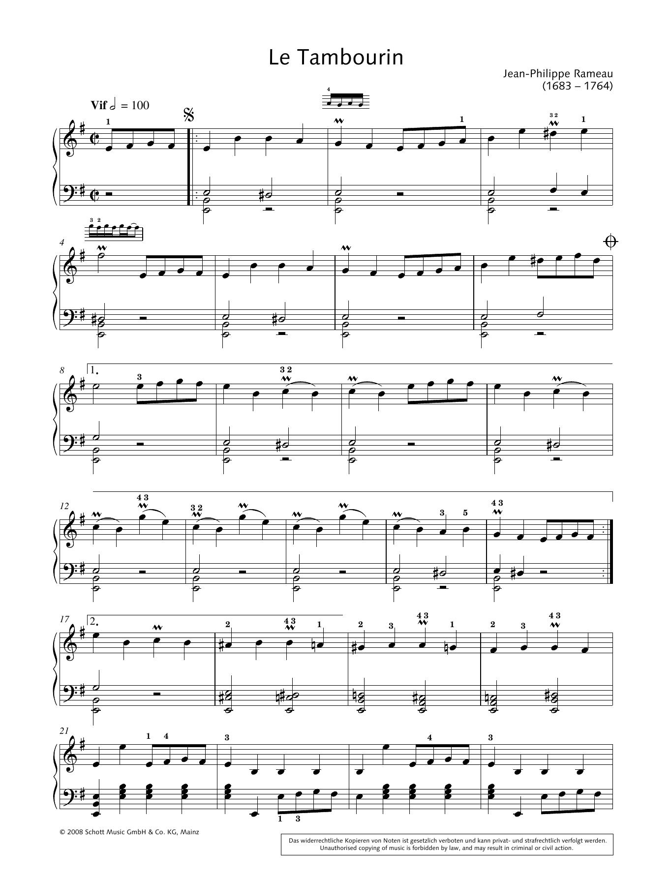Le Tambourin Sheet Music
