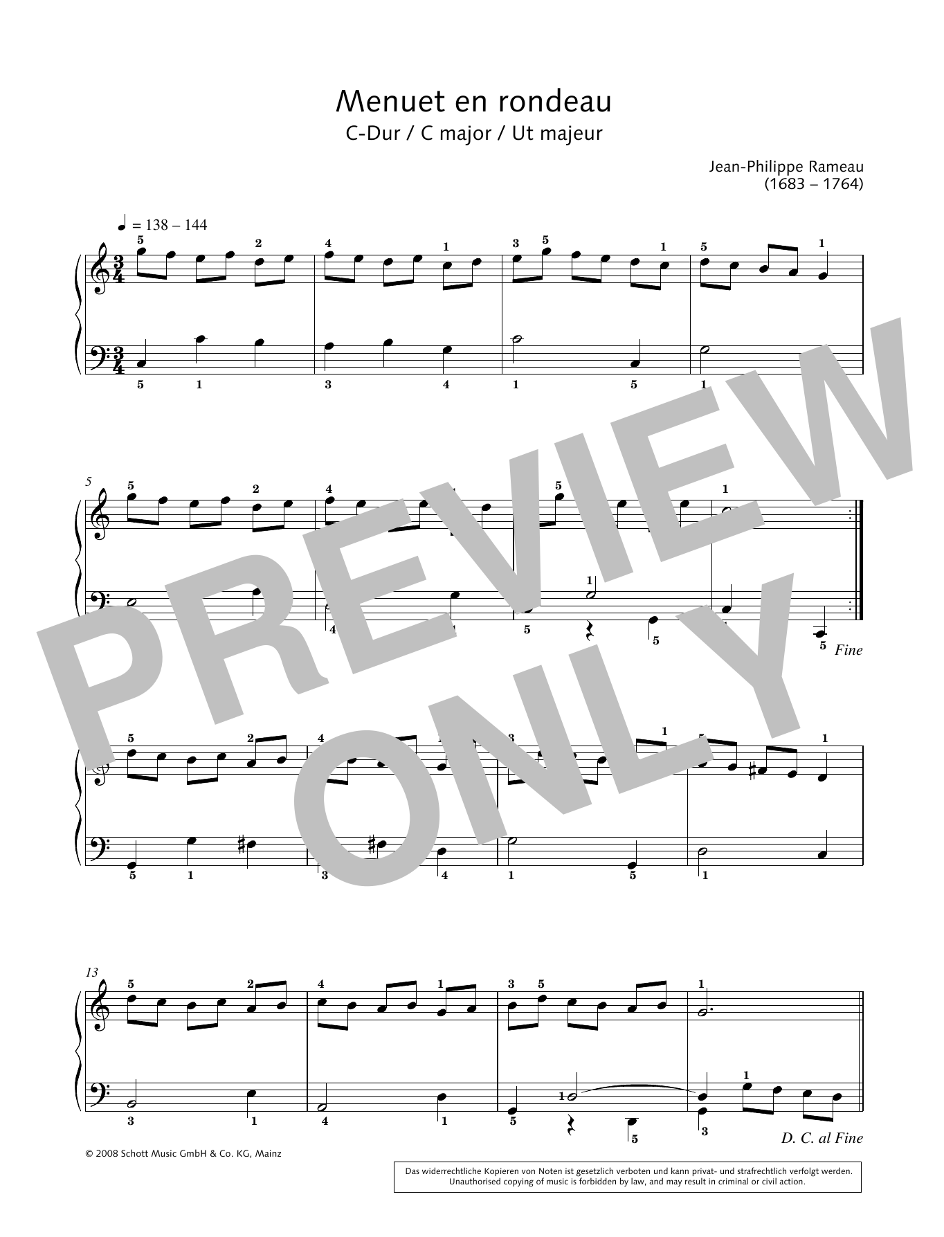 Menuet en rondeau in C major Sheet Music