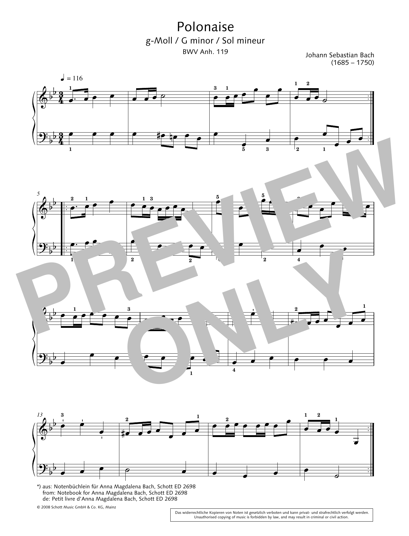 Polonaise in G minor Sheet Music