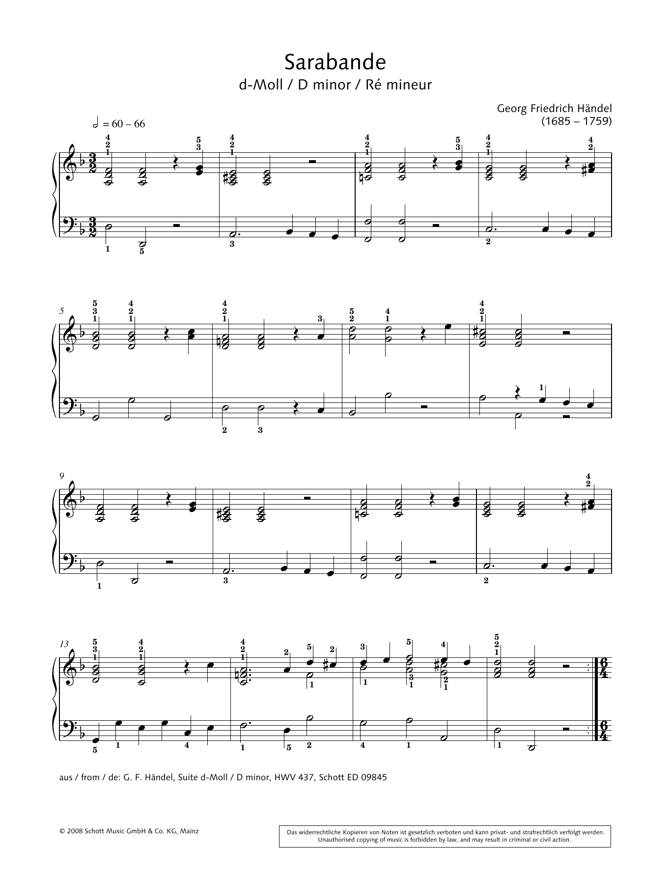 Sarabande in D minor Sheet Music