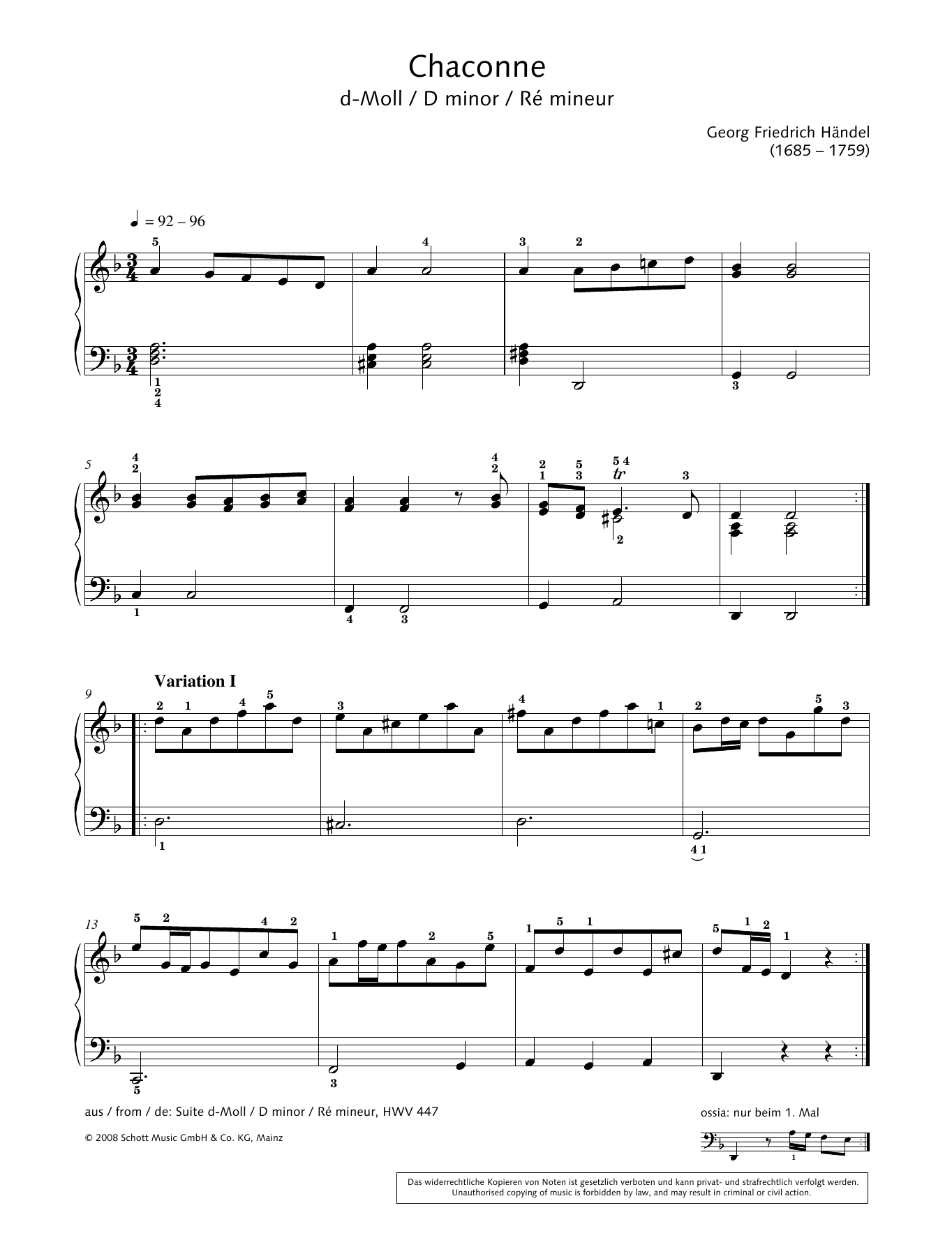 Chaconne in D Minor Sheet Music
