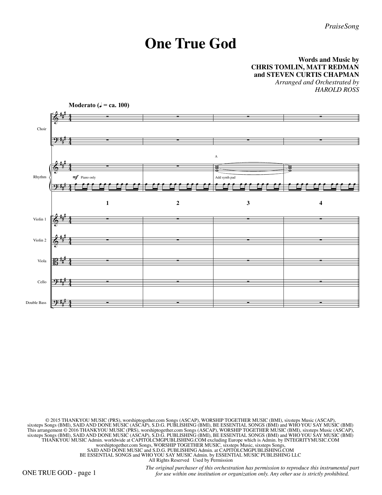 One True God (COMPLETE) sheet music for orchestra/band by Chris Tomlin, Harold Ross, Matt Redman and Steven Curtis Chapman. Score Image Preview.