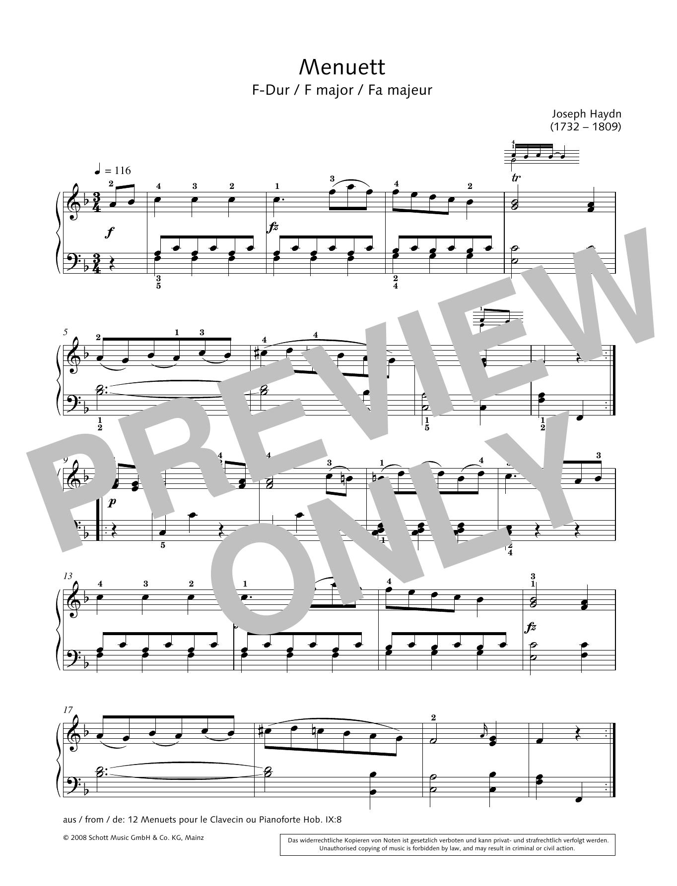 Minuet in F major Sheet Music