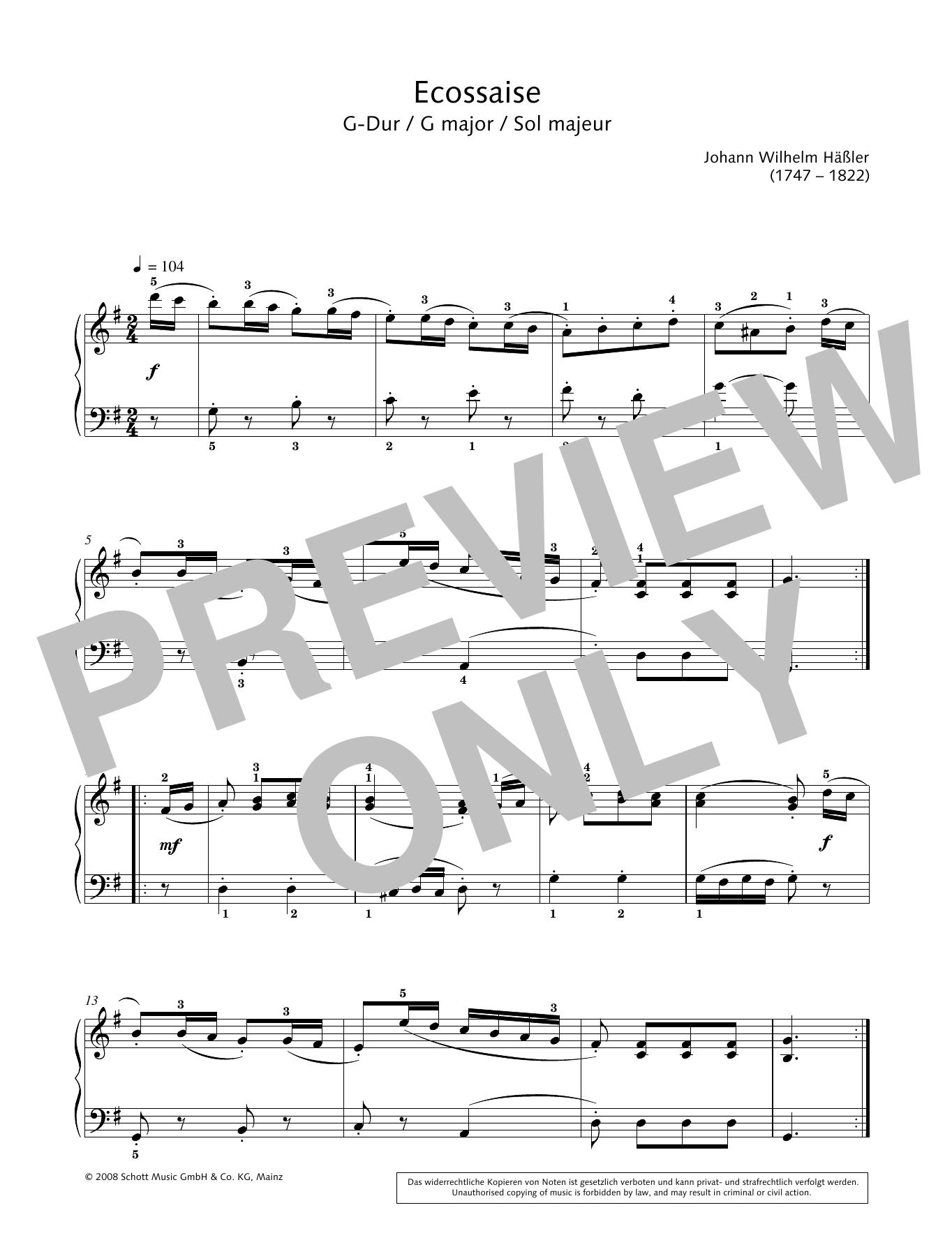 Ecossaise in G major Sheet Music