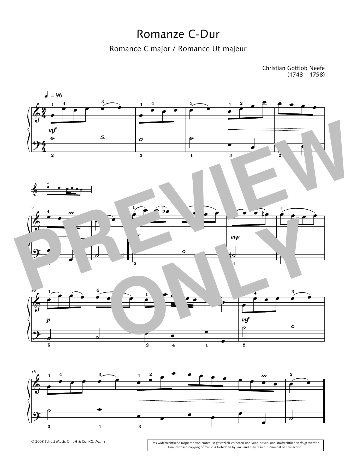 Romance in C major Sheet Music