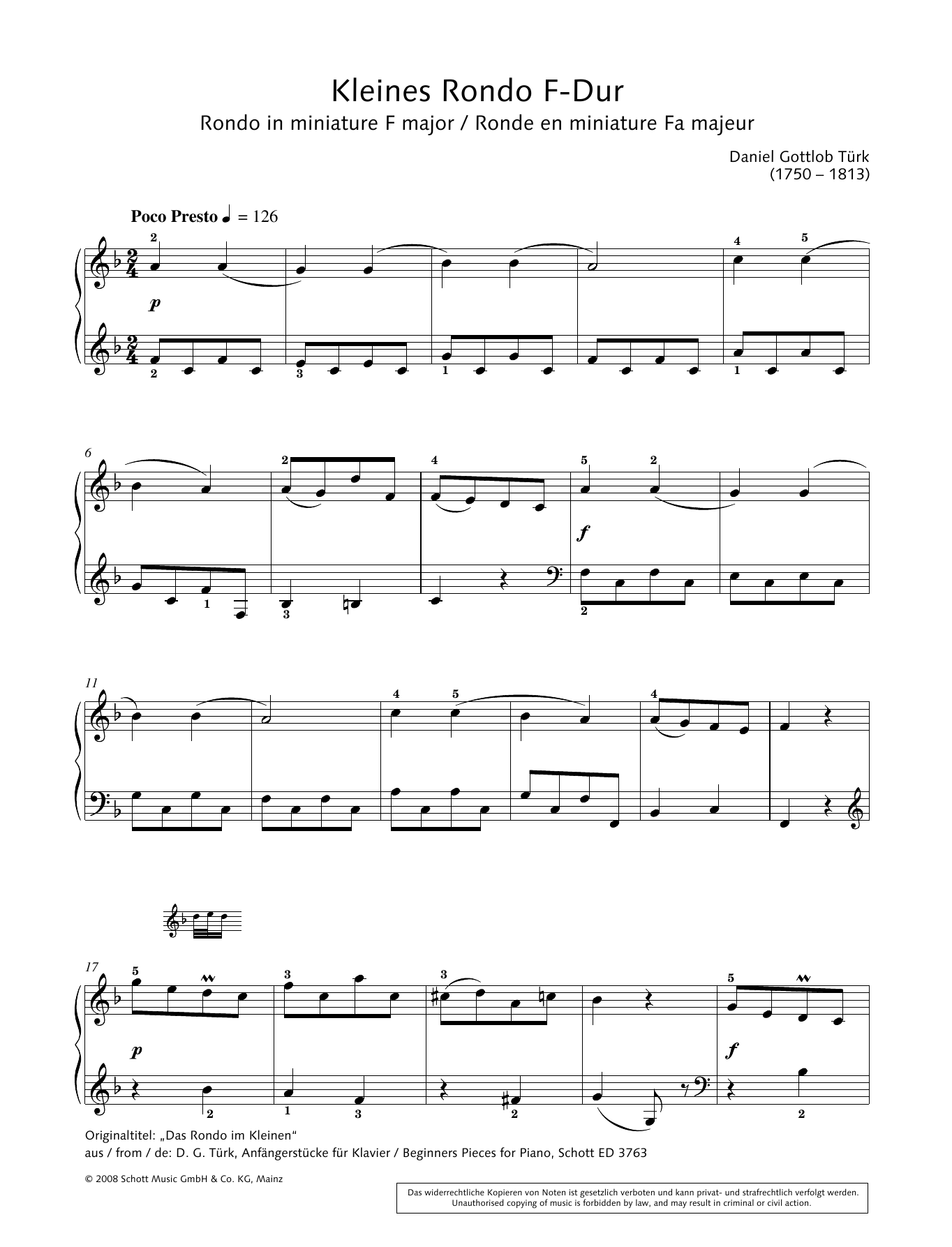 Rondo in miniature in F major Sheet Music