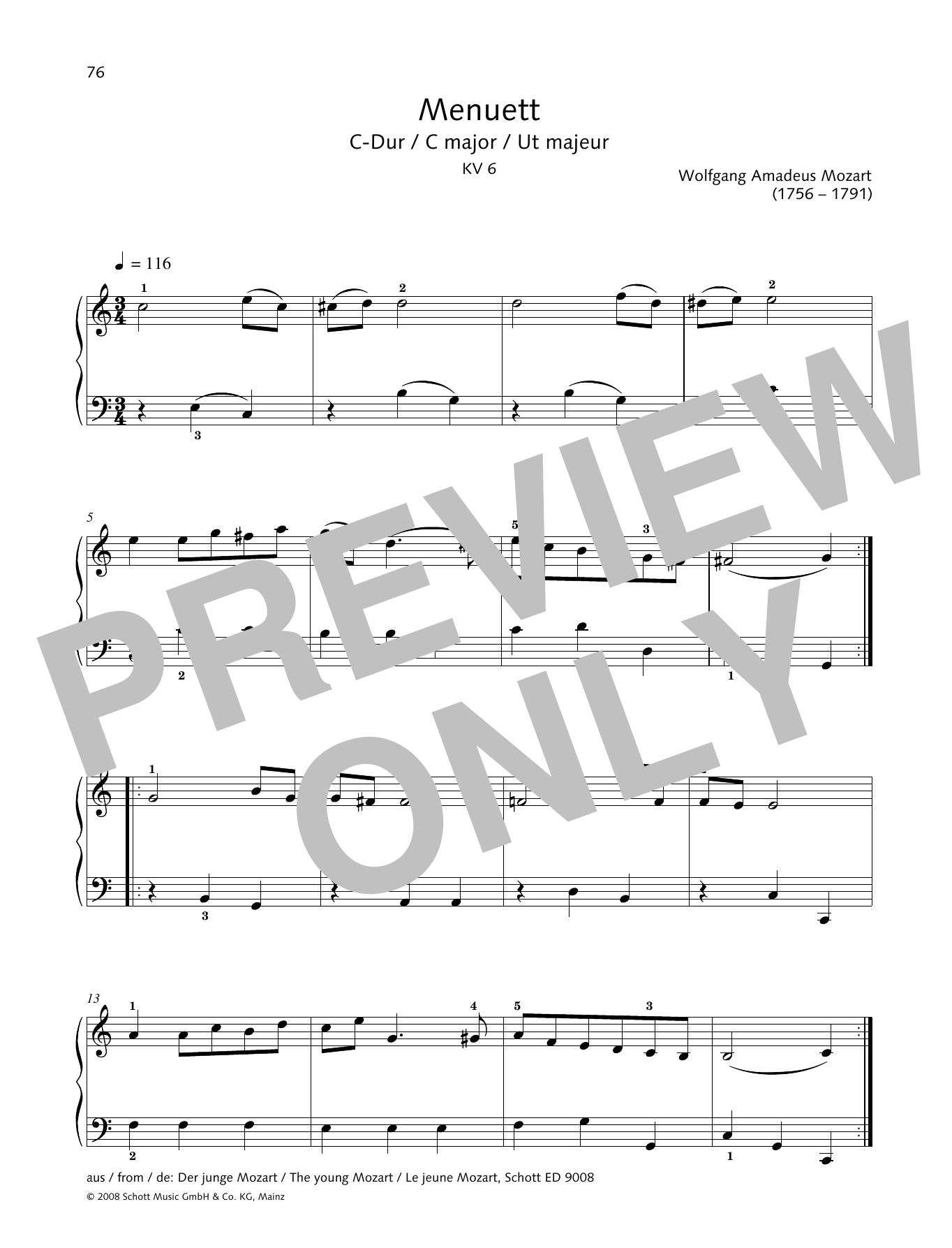 Minuet in C major Sheet Music